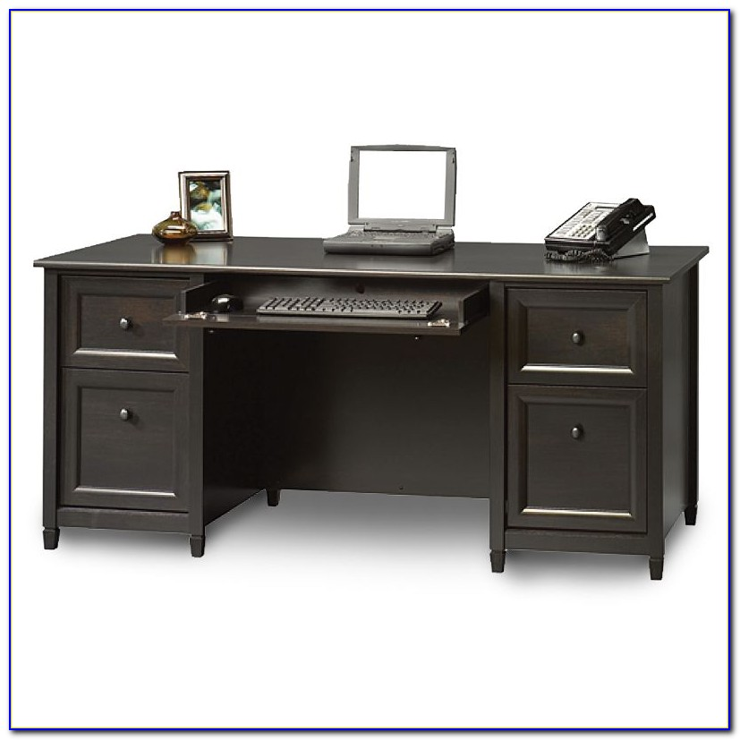 Sauder Edge Water Executive Desk Estate Black Finish