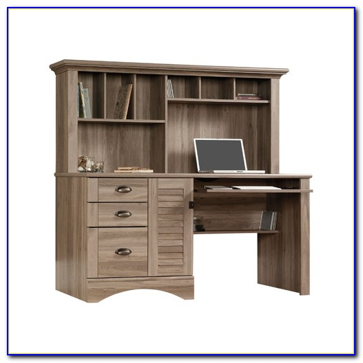 Sauder Harbor View Computer Desk With Hutch Cherry