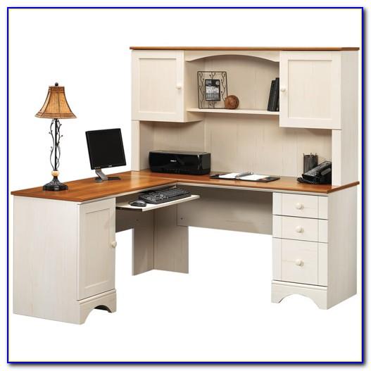 Sauder Harbor View Computer Desk With Hutch In Curado Cherry