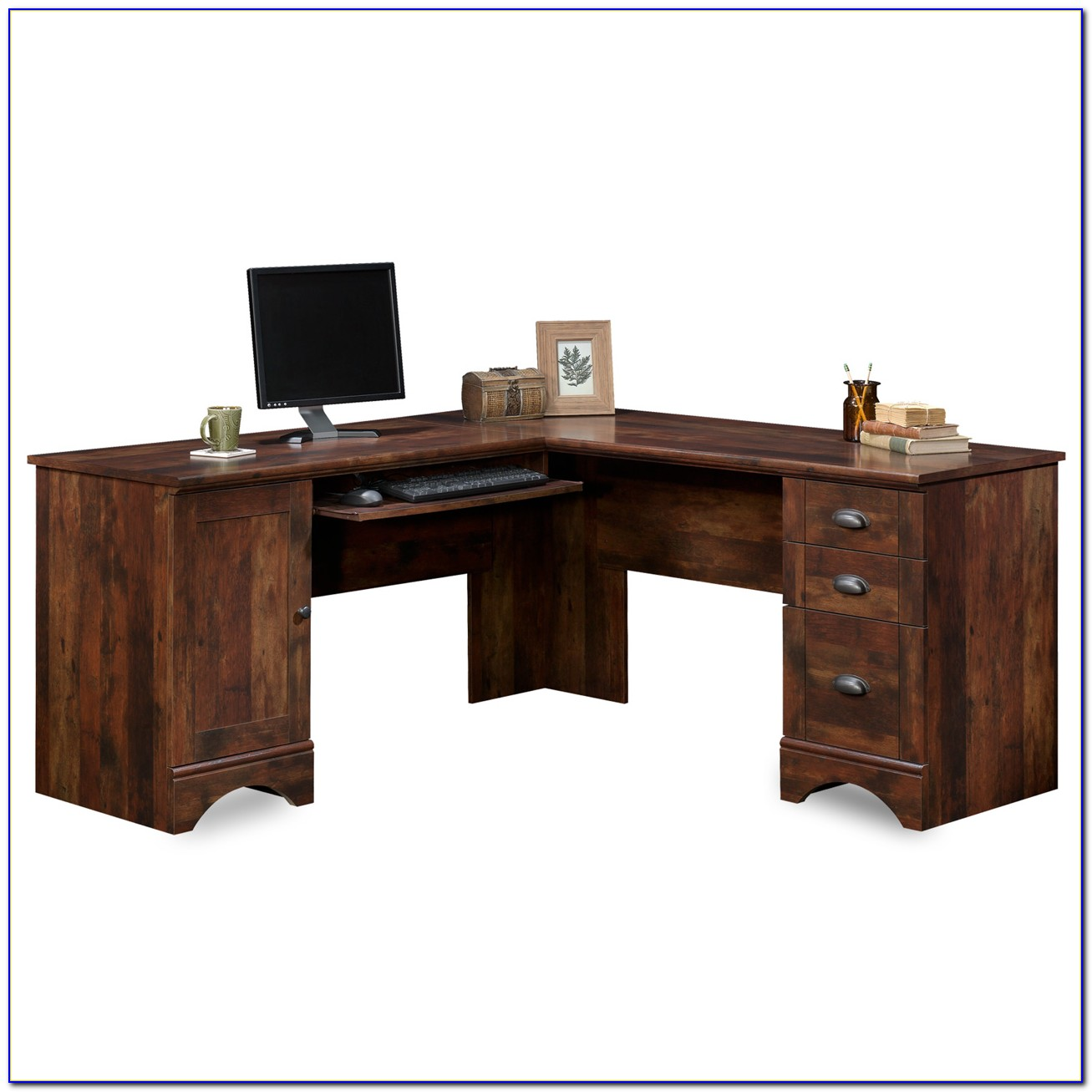 Sauder Harbor View Corner Computer Desk Antiqued Paint