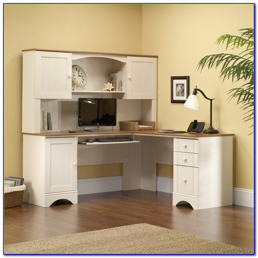 Sauder Harbor View Corner Computer Desk Antiqued White Finish