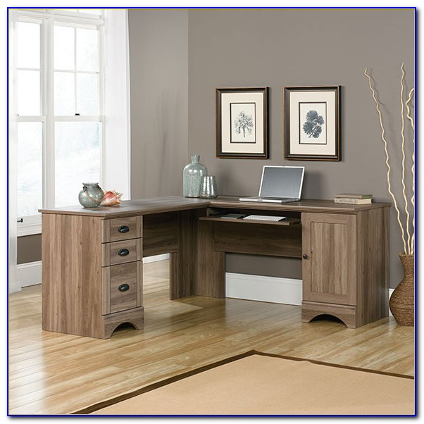 Sauder Harbor View Corner Computer Desk Salt Oak
