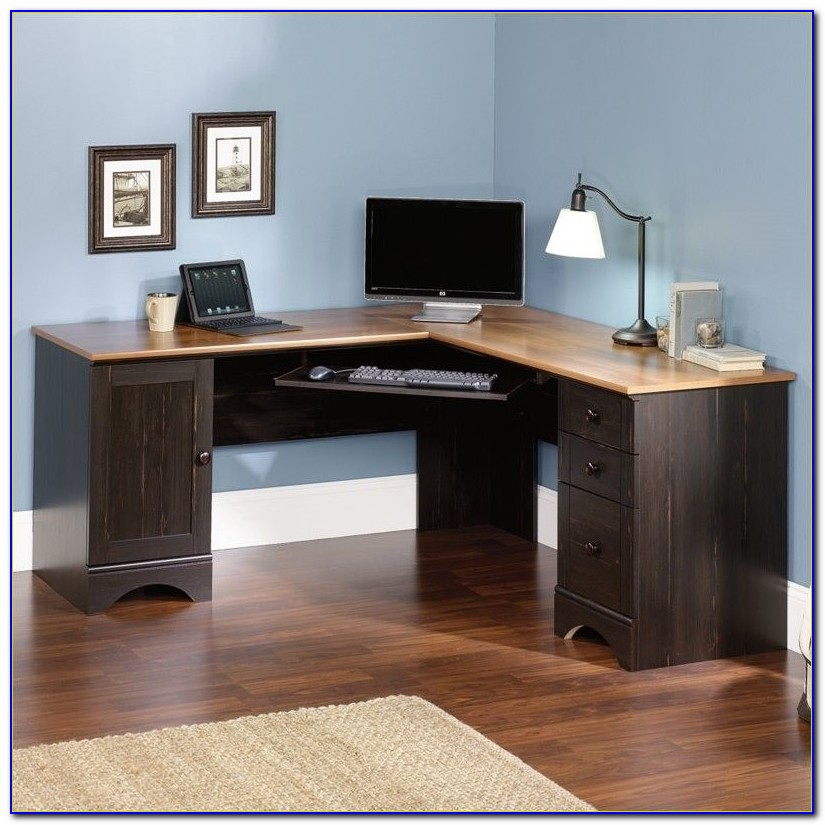 Sauder Harbor View Corner Computer Desk With Hutch