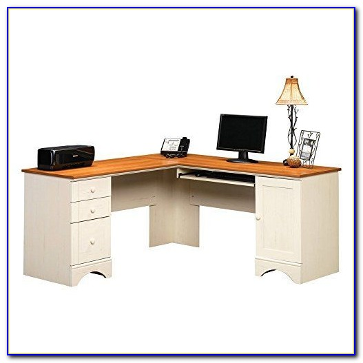Sauder Harbor View Desk With Hutch Salt Oak