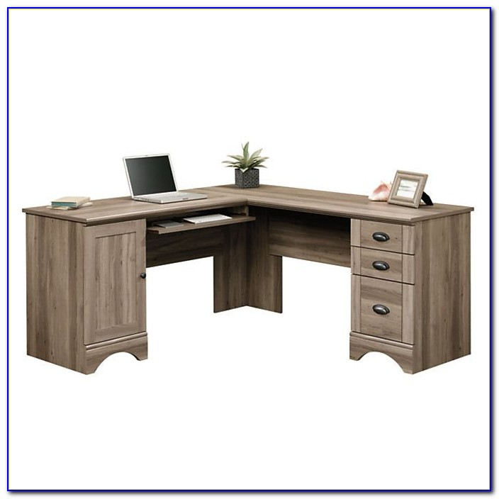 Sauder Harbor View Salt Oak Desk With Hutch