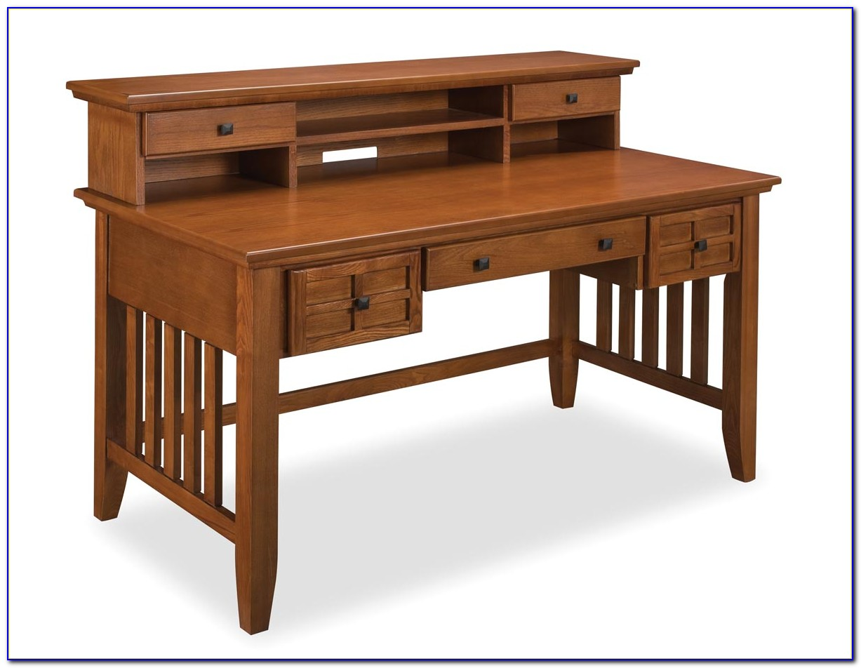 Sauder Oak Desk With Hutch