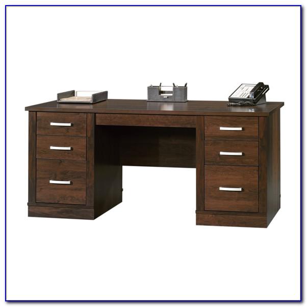 Sauder Office Port Executive Desk In Dark Alder