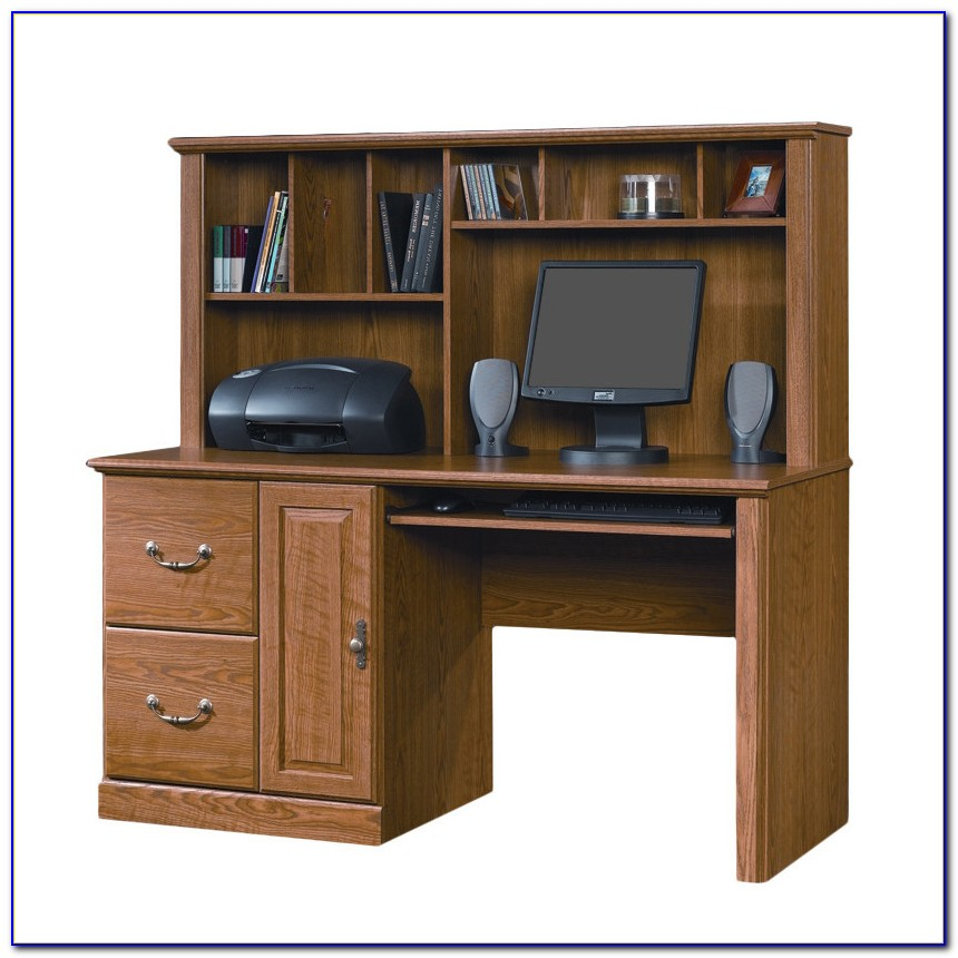 Sauder Orchard Hills Computer Desk With Hutch Cherry