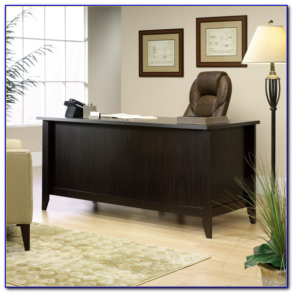 Sauder Shoal Creek Executive Desk Diamond Ash