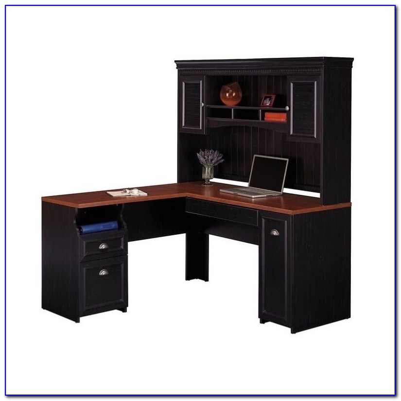 Small Black Computer Desk With Hutch