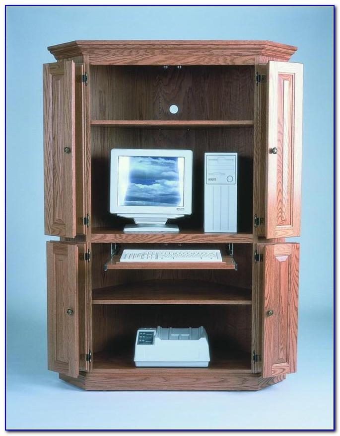 Small Corner Armoire Computer Desk