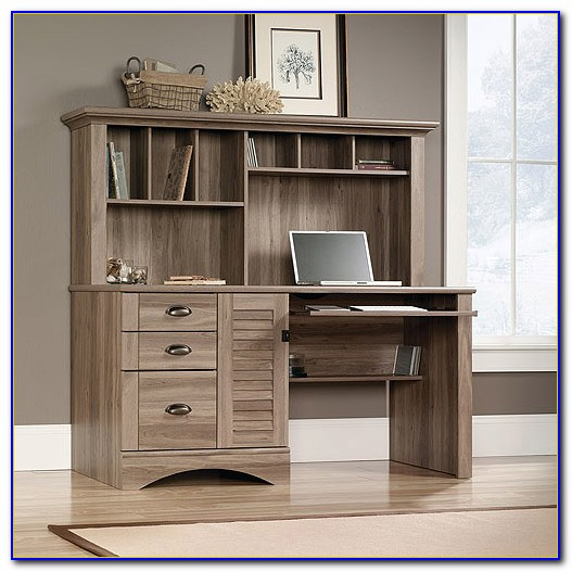 Solid Oak Computer Desk With Hutch