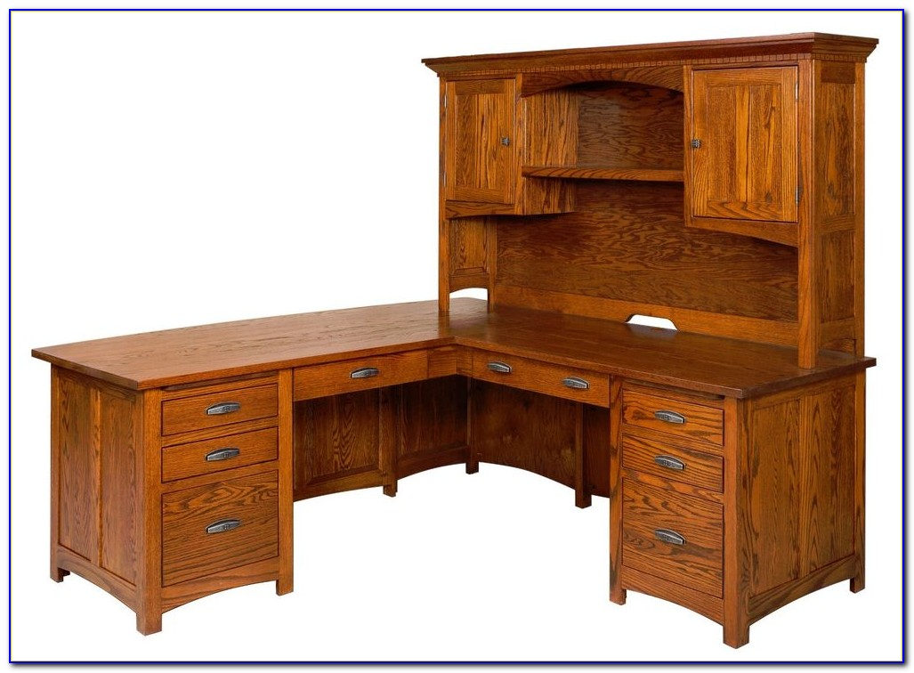 Solid Wood Corner Computer Desk With Hutch
