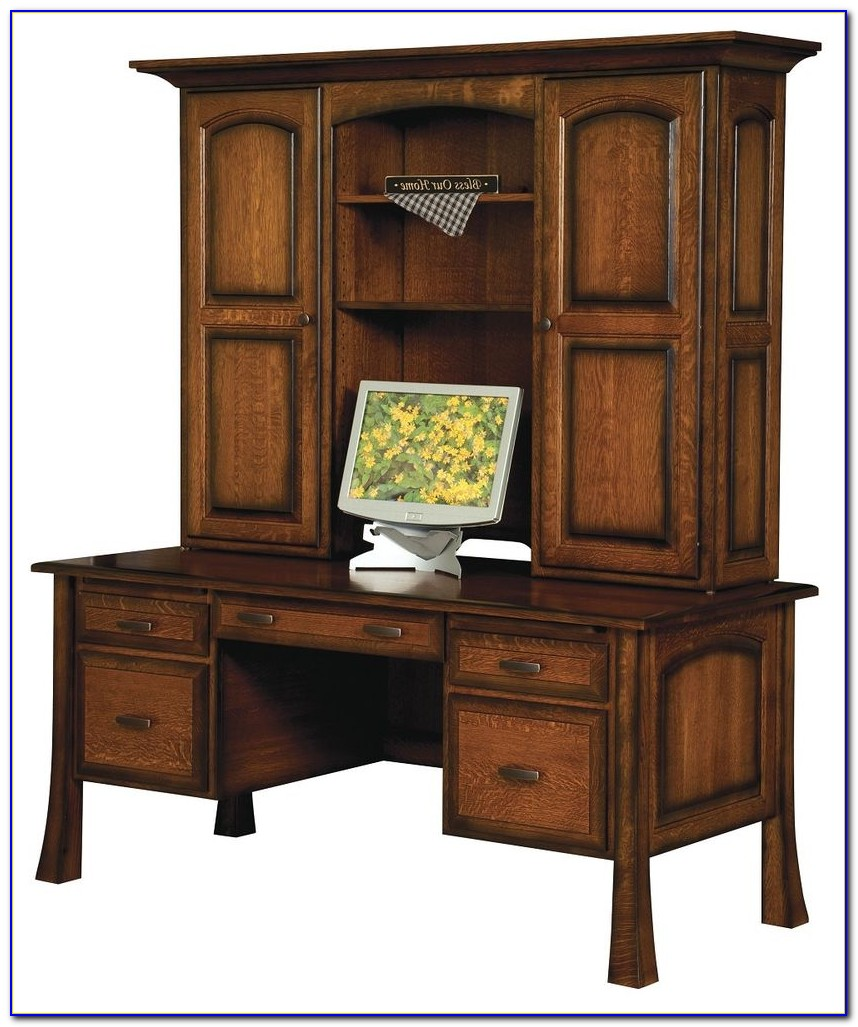 Solid Wood White Desk With Hutch