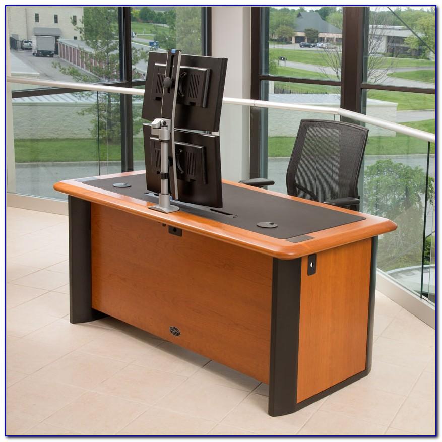 Triple Monitor Corner Computer Desk