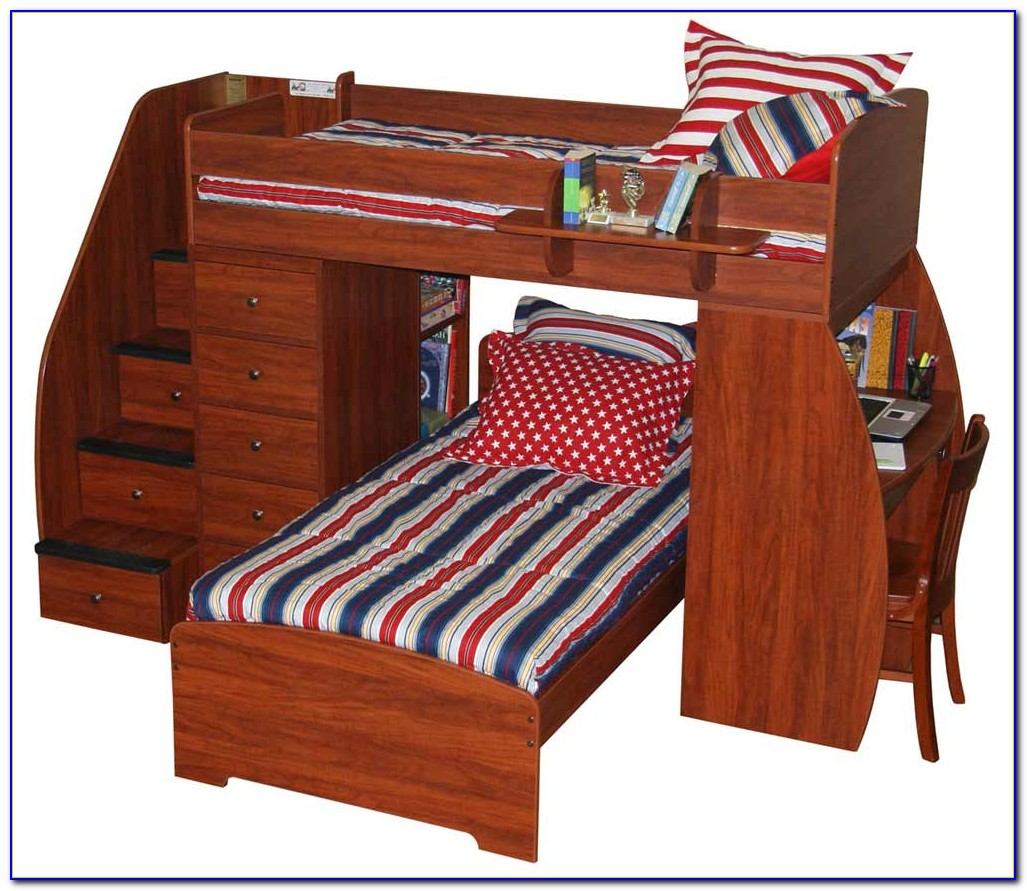 Twin Bunk Beds With Desk And Stairs