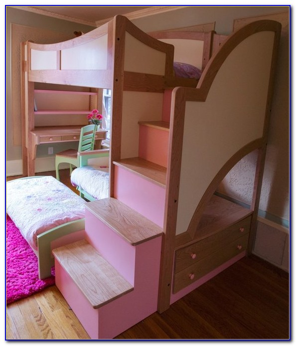 Twin Over Full Bunk Bed With Desk And Stairs