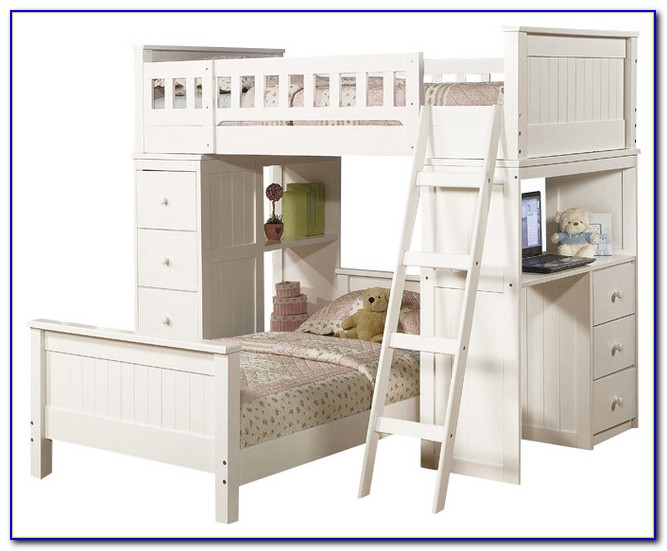 Twin Over Full Bunk Bed With Desk And Storage
