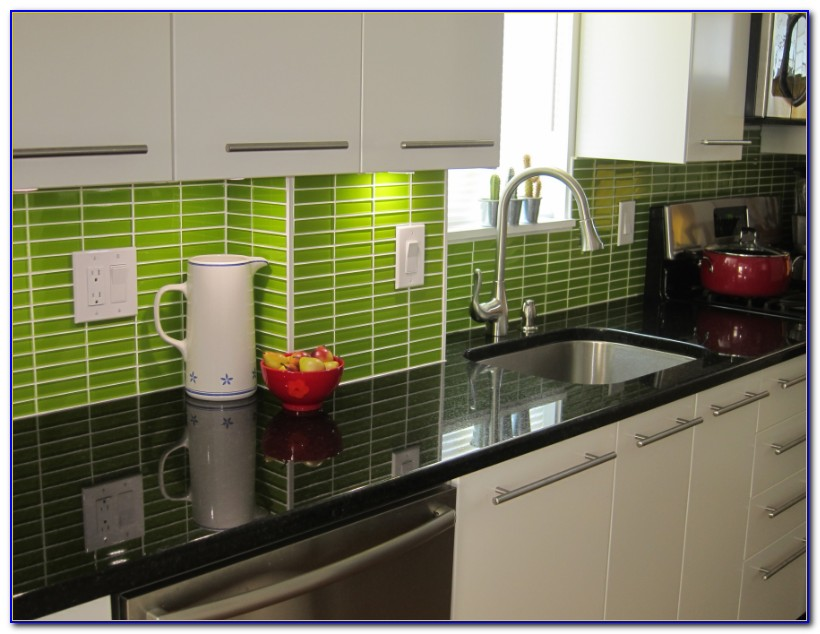Two Color Subway Tile Backsplash