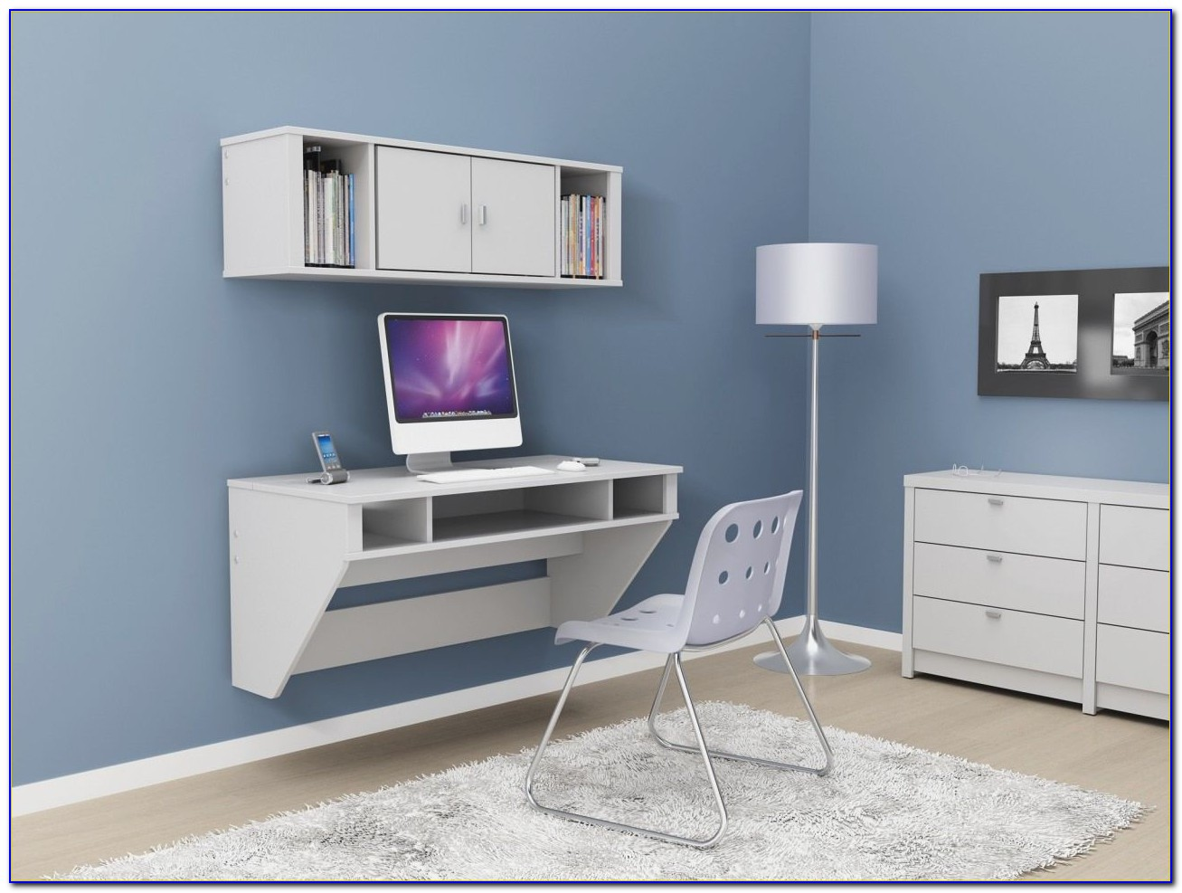 Wall Mounted Desk Hutch White