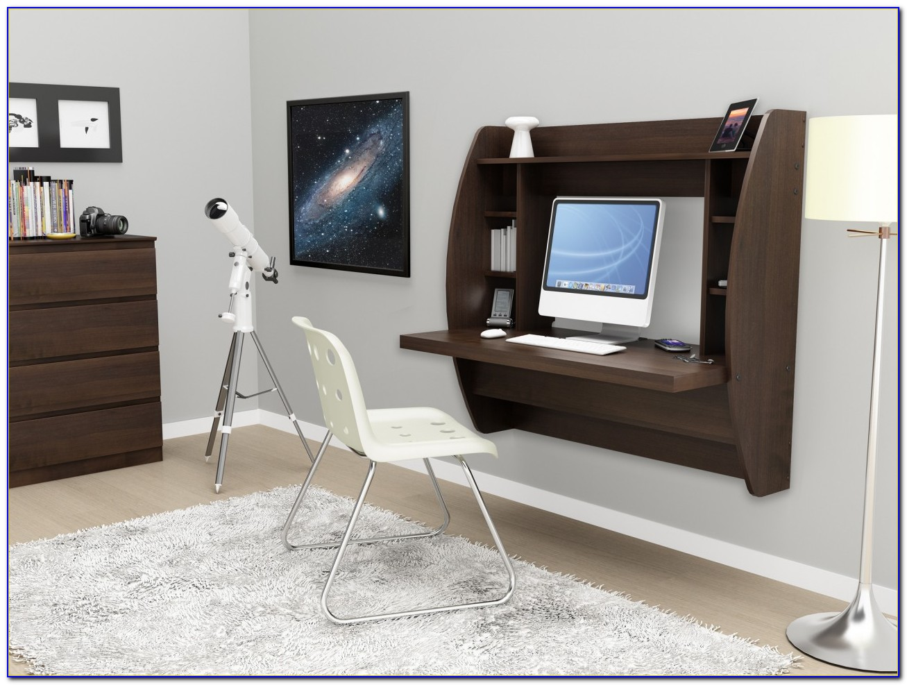 Wall Mounted Floating Desk With Storage