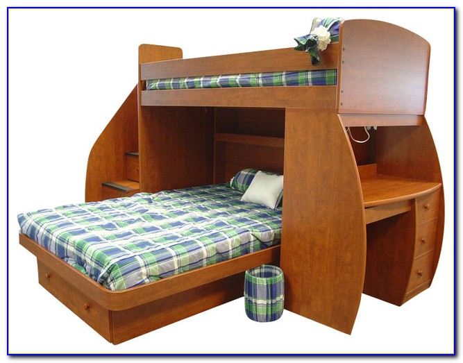 White Bunk Bed With Desk And Stairs