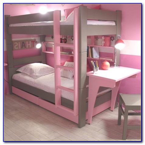 White Bunk Beds With Desk And Drawers