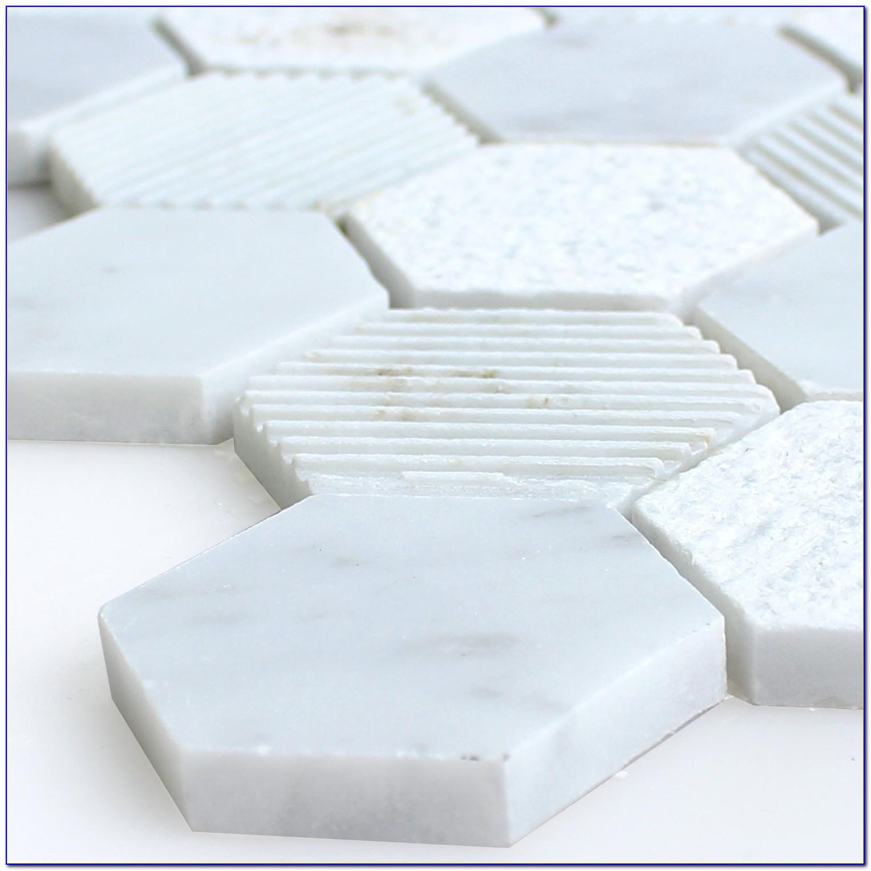 White Carrara Marble Hexagon Tiles