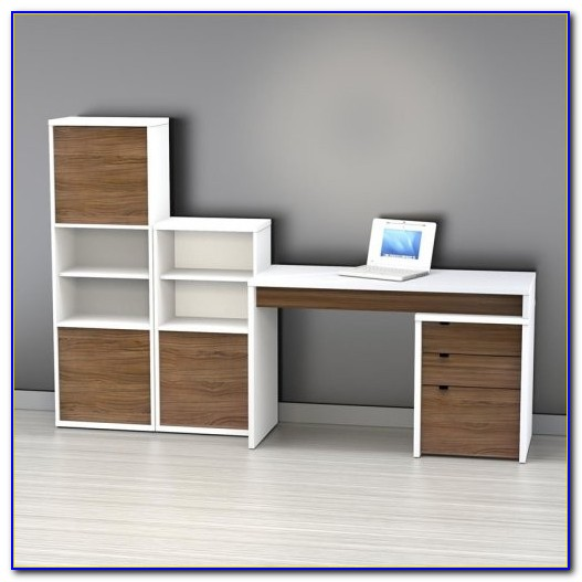 White Computer Desk With Bookshelf
