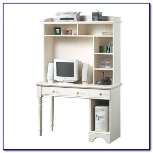 White Desk And Hutch Set