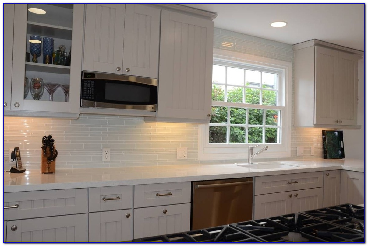 White Glass Backsplash Subway Tile
