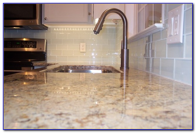 White Glass Metal Backsplash Tile Luna Pearl Granite
