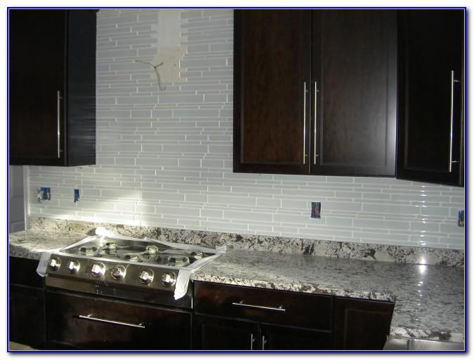 White Glass Tile Backsplash Bathroom