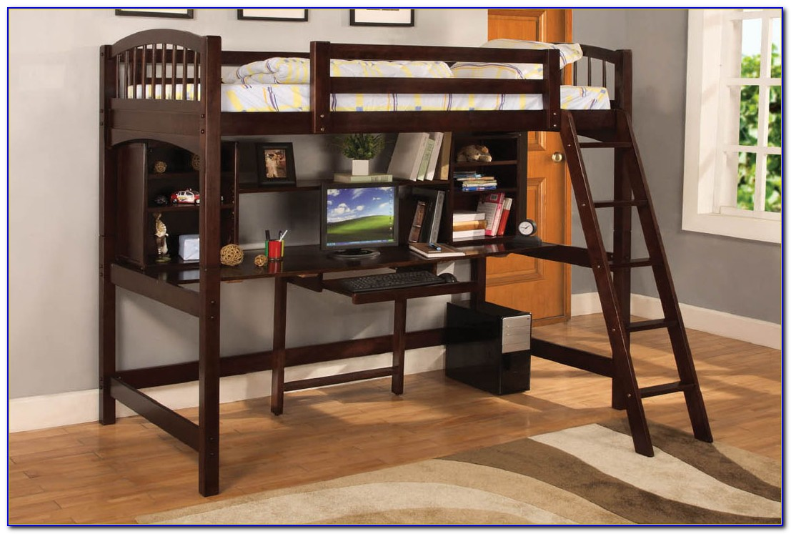 Wood Bunk Bed Loft With Desk