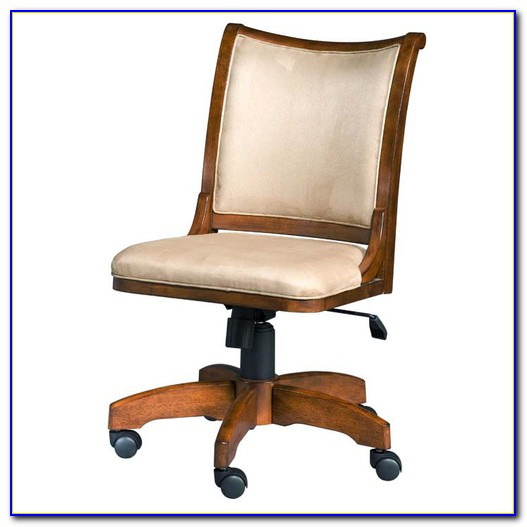 Wood Swivel Desk Chair White