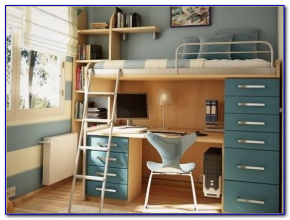 Wooden Bunk Bed With Desk And Drawers