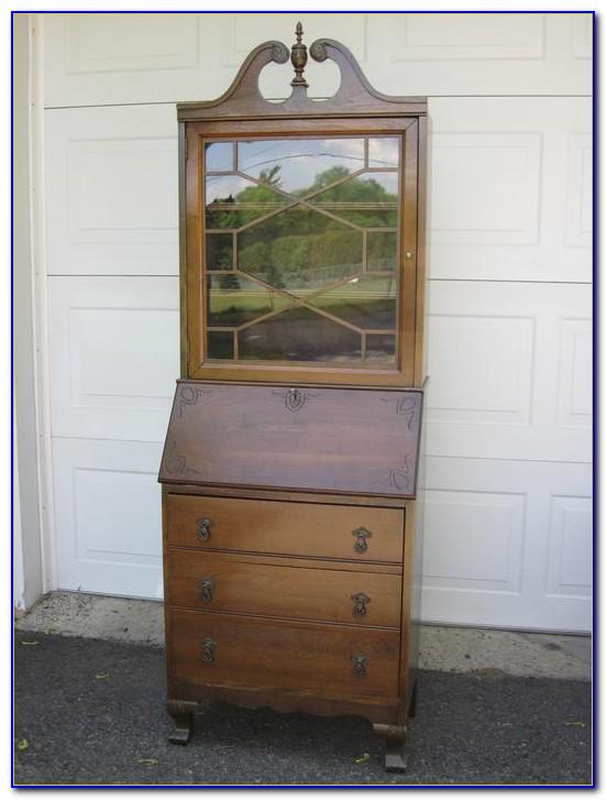 Antique Black Desk With Hutch