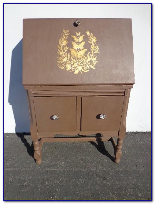 Antique Secretary Cabinet With Drop Down Desk