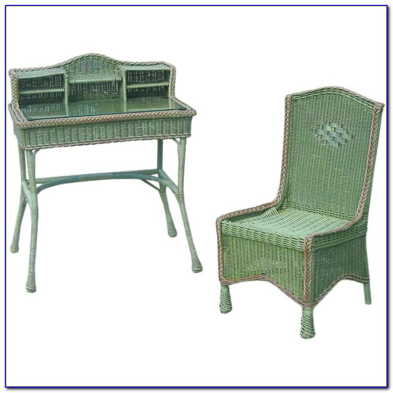 Antique Wicker Desk And Chair