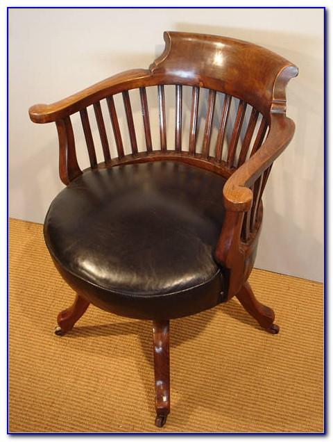 Antique Wooden Swivel Desk Chair