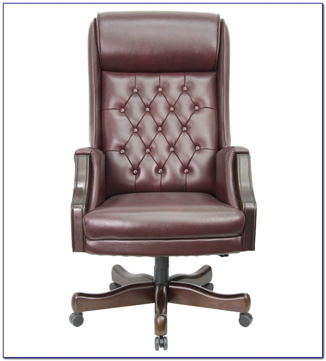 Brown Leather Tufted Desk Chair