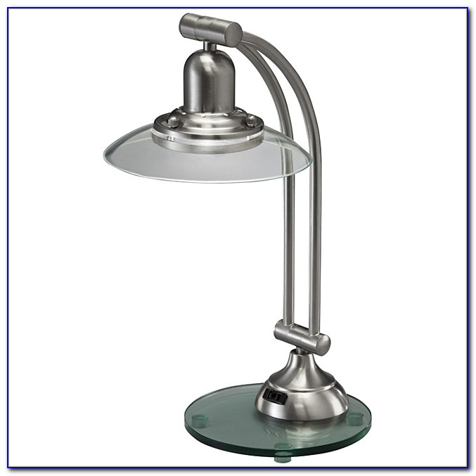 Brushed Nickel Table Lamp Set