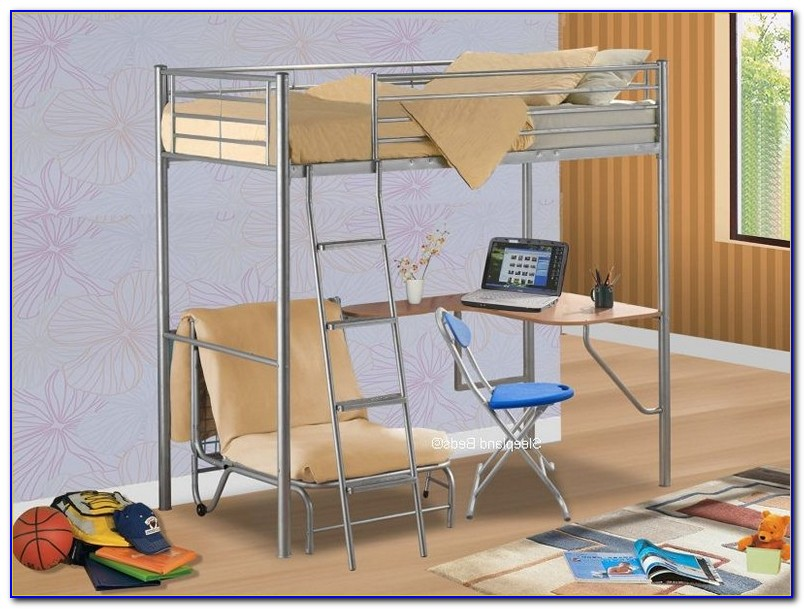 Bunk Bed With Futon On Bottom And Desk