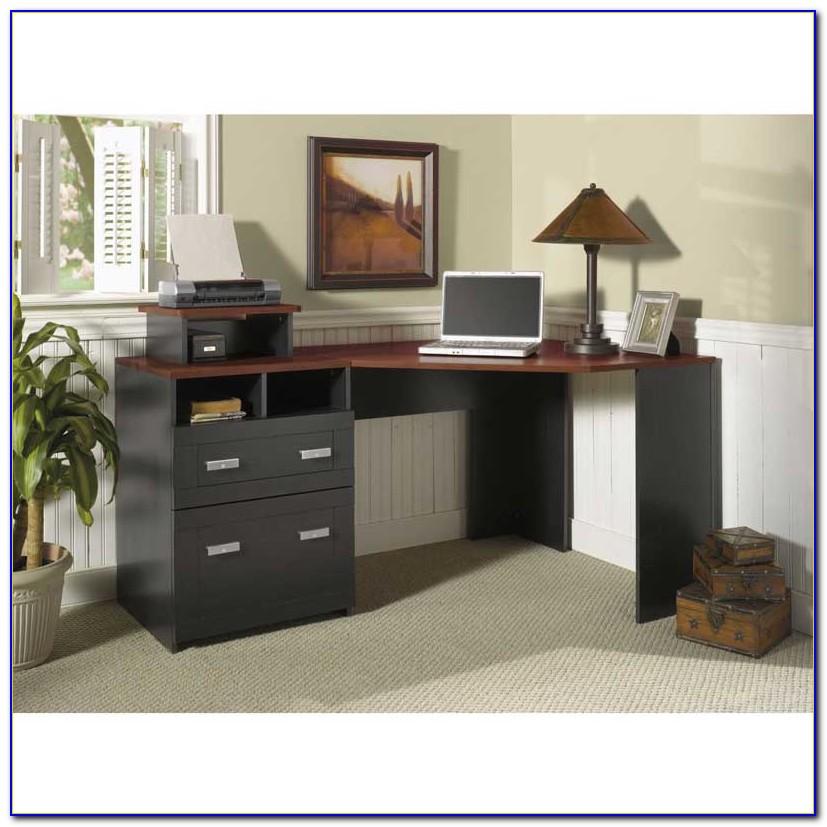 Bush Wheaton Corner Computer Desk Black And Cherry Dimensions