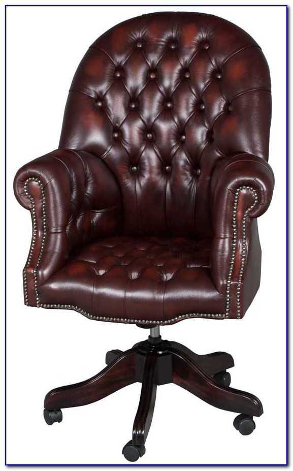 Button Tufted Leather Desk Chair