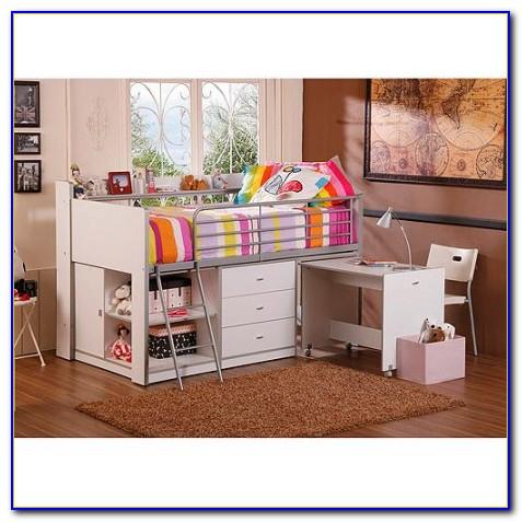 Charleston Storage Loft Bed With Desk White And Pink Carton