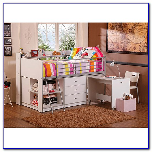 Charleston Storage Loft Bed With Desk White And Pink Dimensions