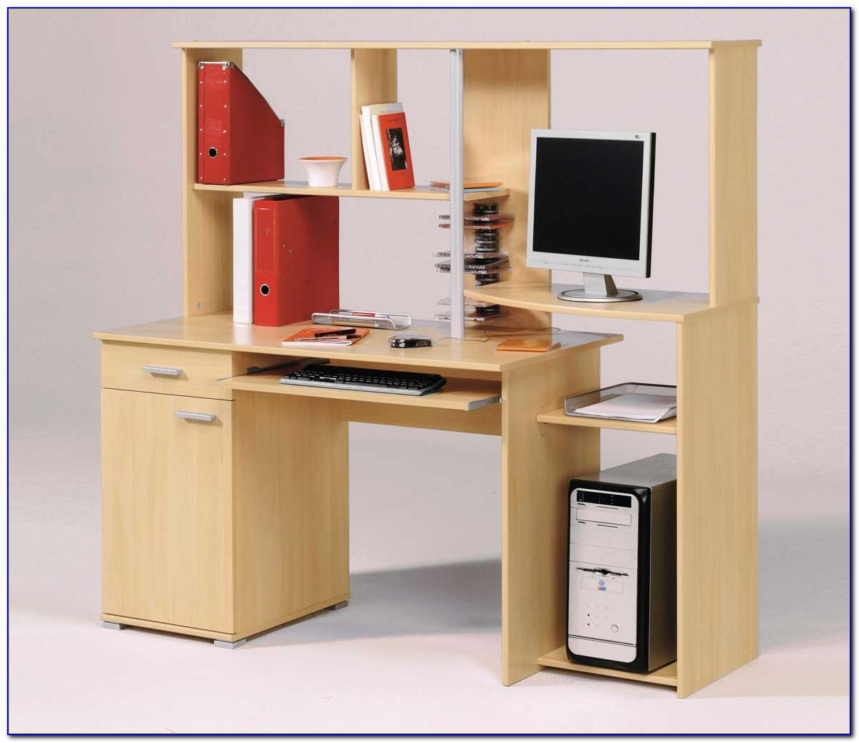 Cherry Corner Computer Desk With Hutch