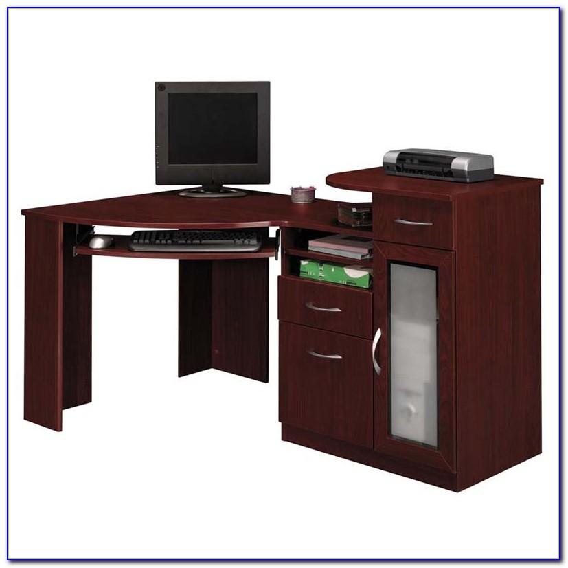 Cherry Finish Wood Corner Computer Desk