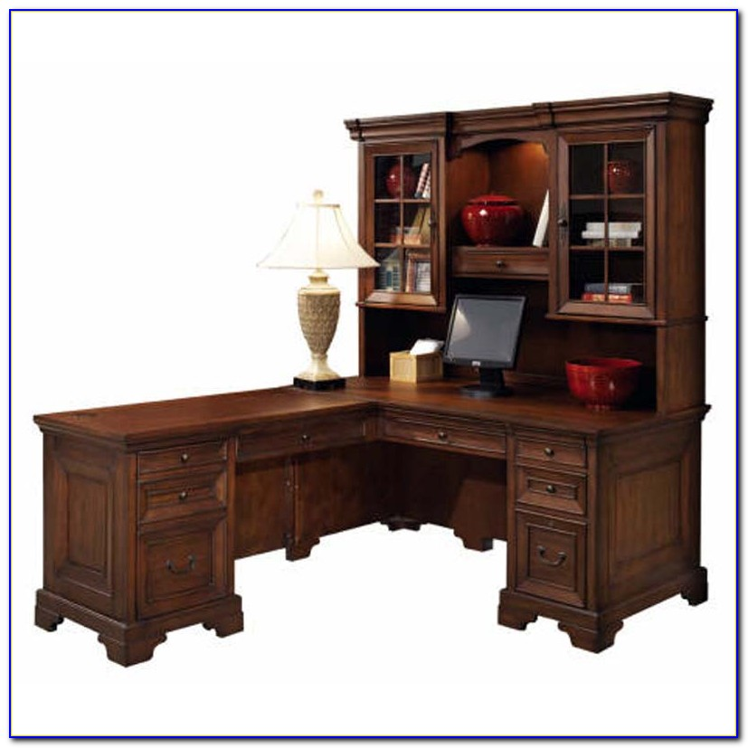 Corner L Shaped Office Desk With Hutch Black And Cherry By Ameriwood